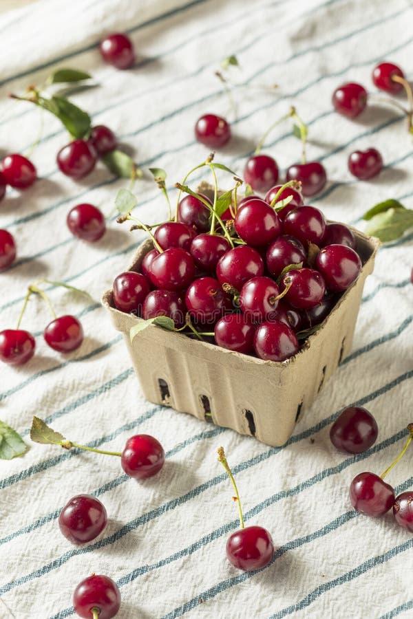 Cerejas orgânicas vermelhas cruas da galdéria imagem de stock