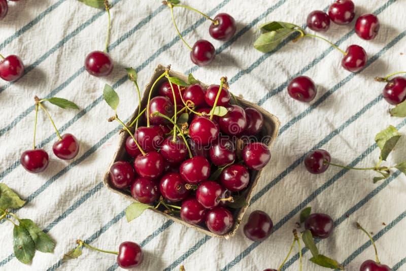 Cerejas orgânicas vermelhas cruas da galdéria fotos de stock royalty free
