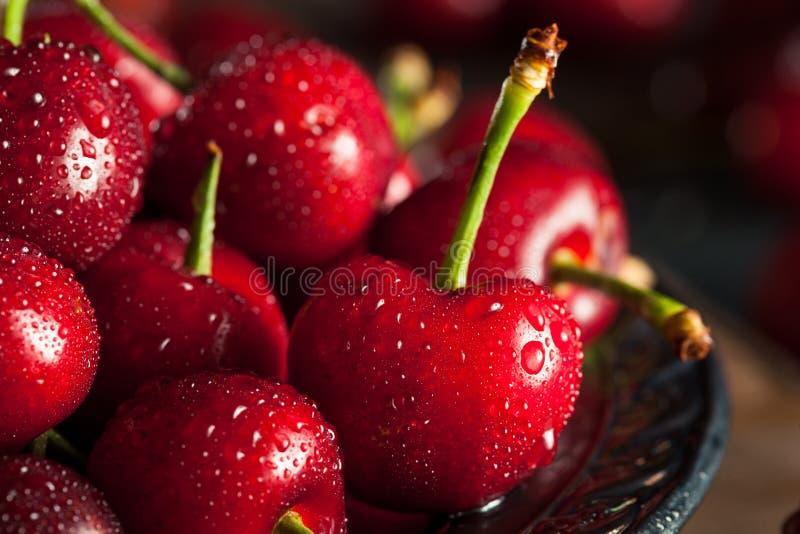 Cerejas vermelhas orgânicas cruas imagens de stock