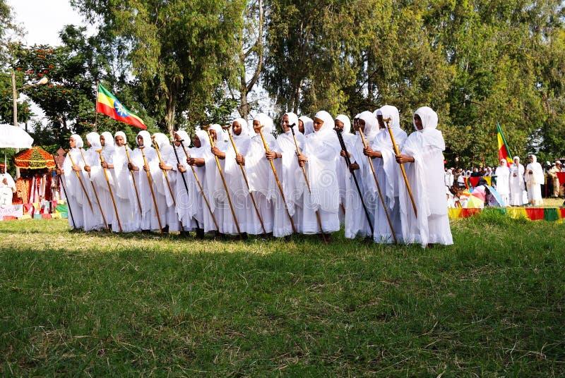 Ceremoni av Meskel, arg finna festival för helgedom, Bahir Dar Ethiopia arkivfoton