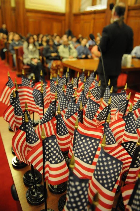 ceremoni flags naturalisering royaltyfria bilder