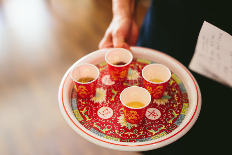 ceremonia ślub chiński herbaciany obraz royalty free