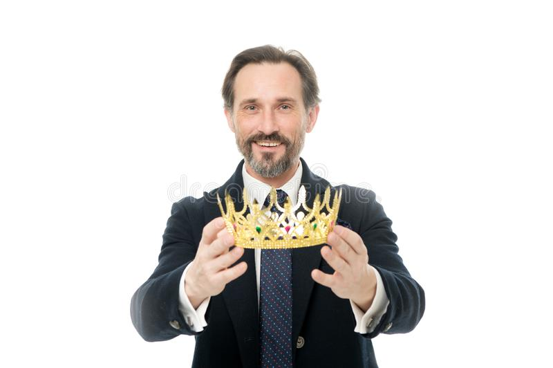 Ceremonia convertida del rey Cualidad del rey Rey siguiente convertido Tradiciones de la familia de la monarquía Individuo barbud imagen de archivo libre de regalías