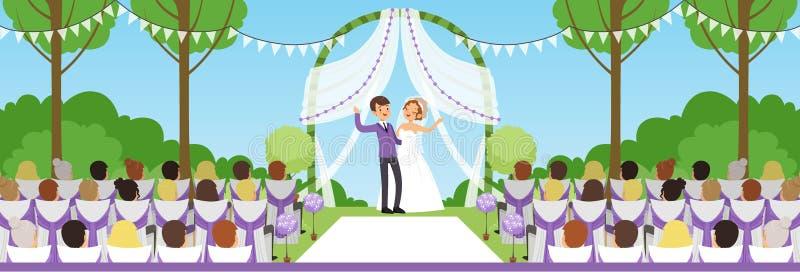 Ceremonia de boda en parque del verano, recienes casados debajo del arco y sus huéspedes que se sientan en el ejemplo horizontal  stock de ilustración