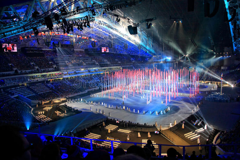 Ceremonia de inauguración de los juegos del invierno de Paraolympic en Sochi fotografía de archivo