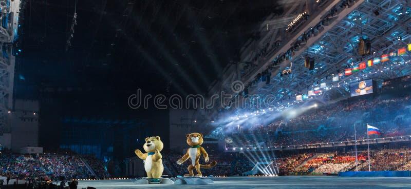 Ceremonia de inauguración de los Juegos Olímpicos de Sochi 2014 fotos de archivo
