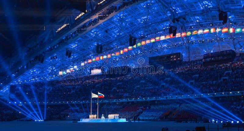 Ceremonia de inauguración de los Juegos Olímpicos de Sochi 2014 fotos de archivo libres de regalías