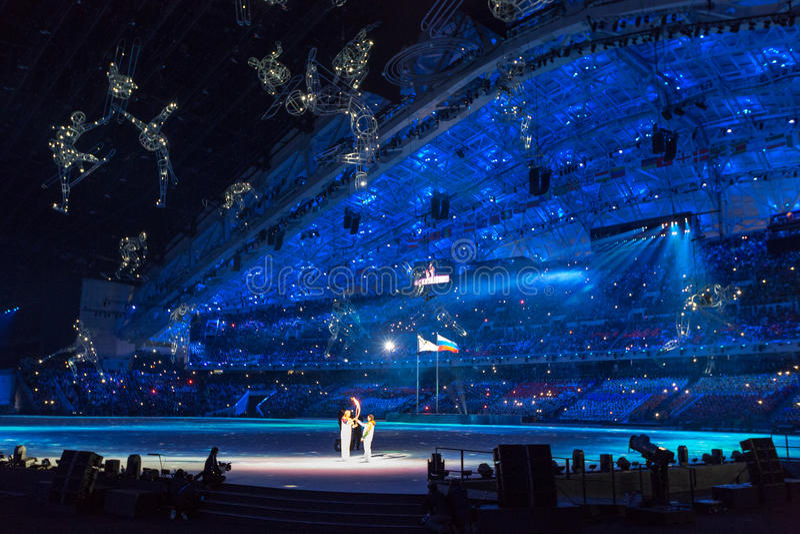 Ceremonia de inauguración de los Juegos Olímpicos de Sochi 2014 imagenes de archivo