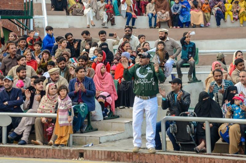 Ceremonia de la frontera de Wagah Paquistán la India, Lahore, Paquistán fotos de archivo libres de regalías