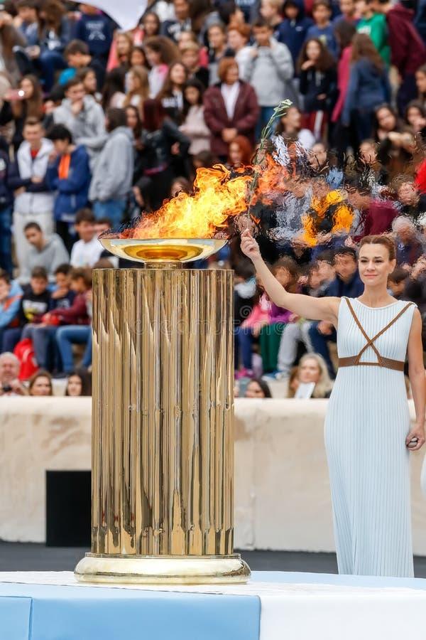 Ceremonia de la llama olímpica para las olimpiadas de invierno foto de archivo libre de regalías