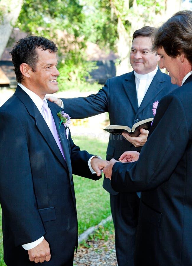 Ceremonia de matrimonio homosexual - anillos fotografía de archivo libre de regalías
