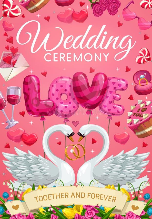 Ceremonia de matrimonio, símbolos de la boda y pájaros del cisne stock de ilustración