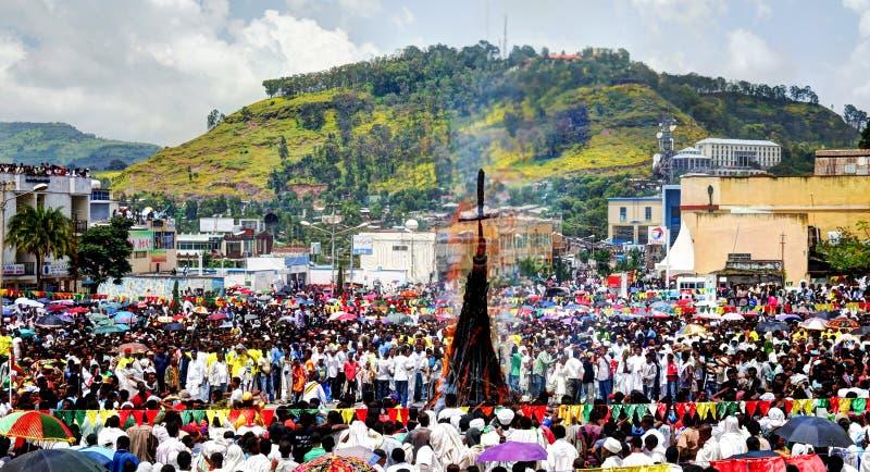 Ceremonia de Meskel, festival cruzado santo del hallazgo en Gondar Etiopía fotos de archivo libres de regalías