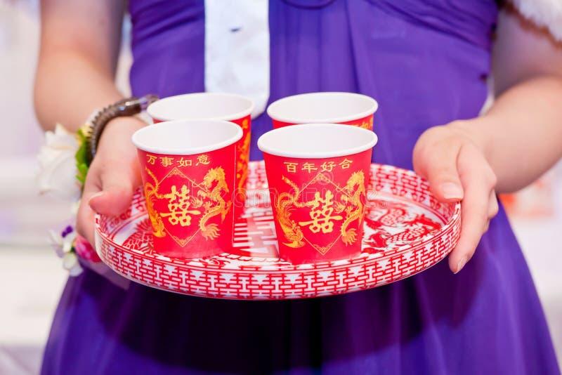 Ceremonia de té china en la boda imagen de archivo