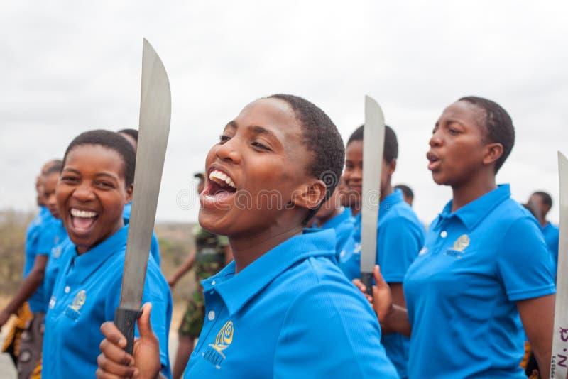 Ceremonia de Umhlanga Reed Dance, rito nacional tradicional anual, uno de la celebraci?n de ocho d?as, muchachas virginales joven imagenes de archivo