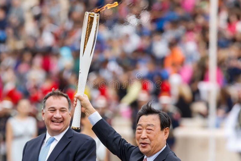 Ceremonia Olimpijski płomień dla olimpiad zimowych zdjęcia stock