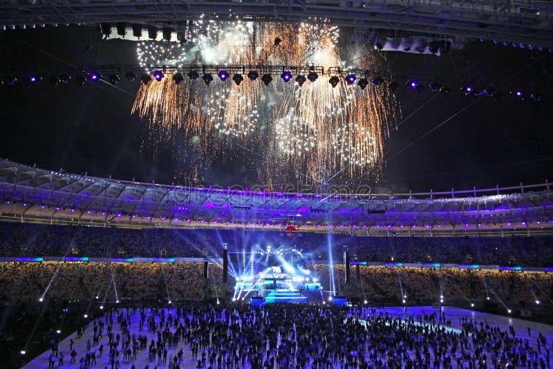 Ceremonia otwarcia Olimpijski stadium w Kyiv obraz stock