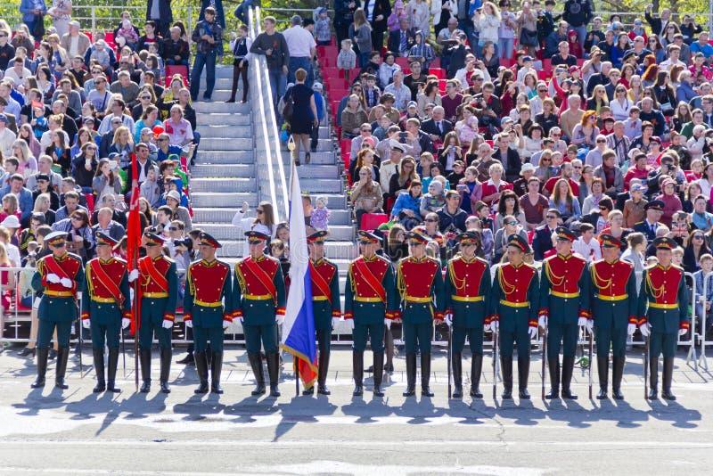 Ceremonia rusa de abrir desfile militar en Victory Da anual fotos de archivo