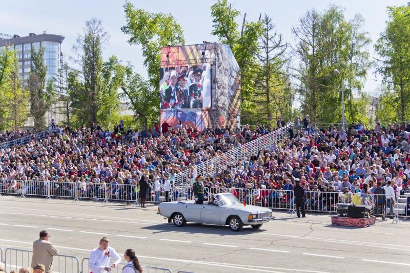Ceremonia rusa de abrir desfile militar en Victory Da anual foto de archivo libre de regalías