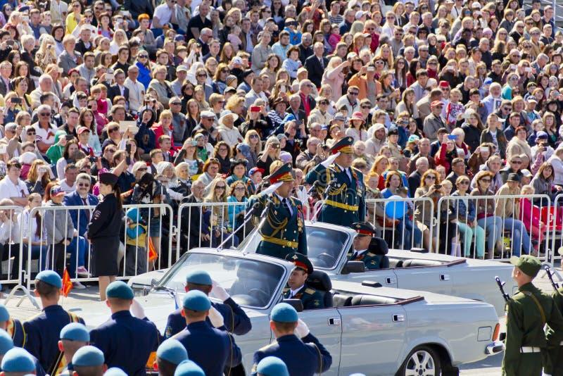 Ceremonia rusa de abrir desfile militar en Victory Da anual fotos de archivo libres de regalías