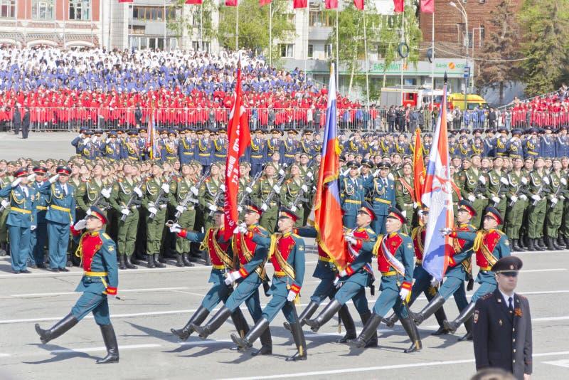 Ceremonia rusa del desfile militar de la abertura en vencedor anual imagenes de archivo