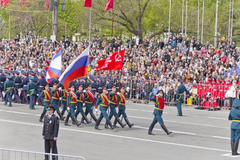 Ceremonia rusa del desfile militar de la abertura en vencedor anual imagen de archivo