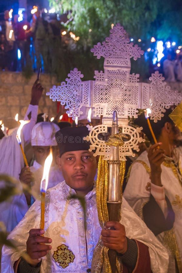 Ceremonia santa etíope del fuego fotografía de archivo libre de regalías