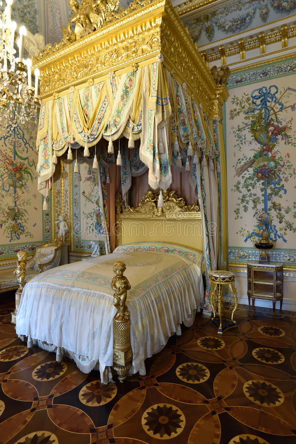 Ceremonial bedroom in the royal residence in Pavlovsk, Russia. Pavlovsk, St. Petersburg, Russia - April 29, 2015: Interior of the ceremonial bedroom in the stock photo