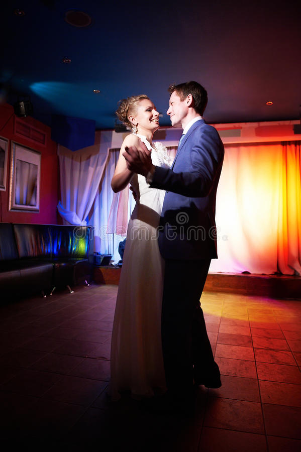 Ceremonial dance bride and groom stock photography