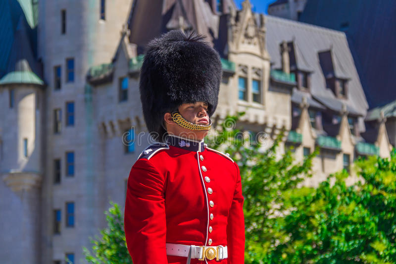 Ceremonial Guard. Standing Ceremonial Guard and guarding in Ottawa, Ontario, Canada stock photo