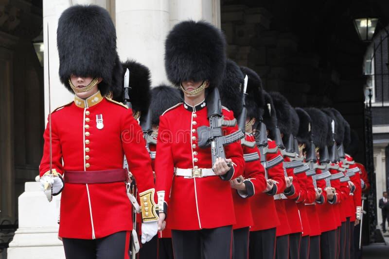 Ceremonial Guards. London - July 14: Ceremonial Guard by Nijmegan Company of the Grenadier Guards preparing to greet the Malaysian Prime Minister Dato' Sri Najib royalty free stock image
