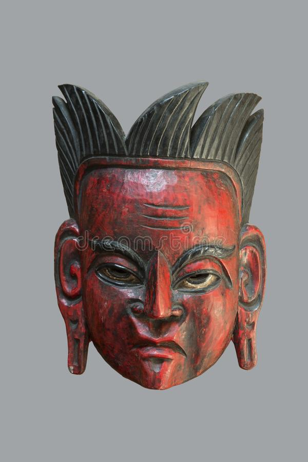 Ceremonial mask from South America. Old ceremonial mask from South America made of the hard wood stock photo