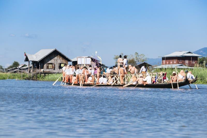 Ceremonial raft paddled across Inle Lake. stock photography