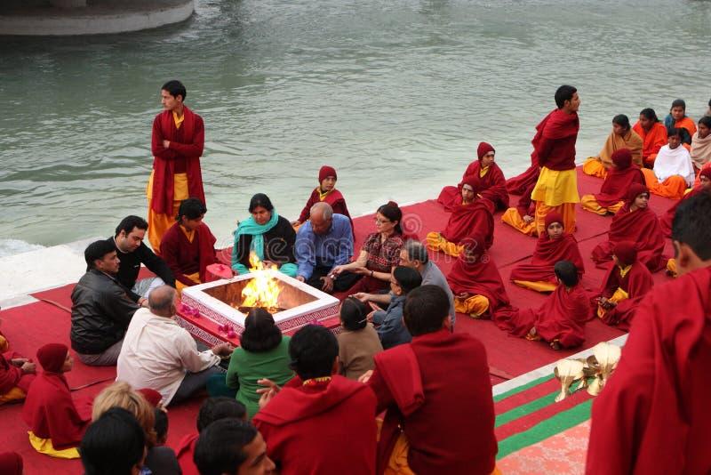 Ceremonial in Rishikesh stock image