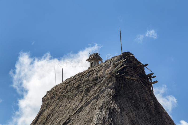 Ceremonial Statue in Bena. A ceremonial object on the rooftop of a house in the Bena traditional village in Flores, Indonesia stock photos