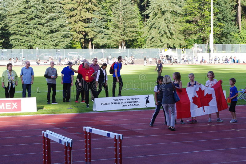 Ceremonie otwarcia Vancouver słońca Harry Jerome zawody międzynarodowi śladu klasyk obrazy stock