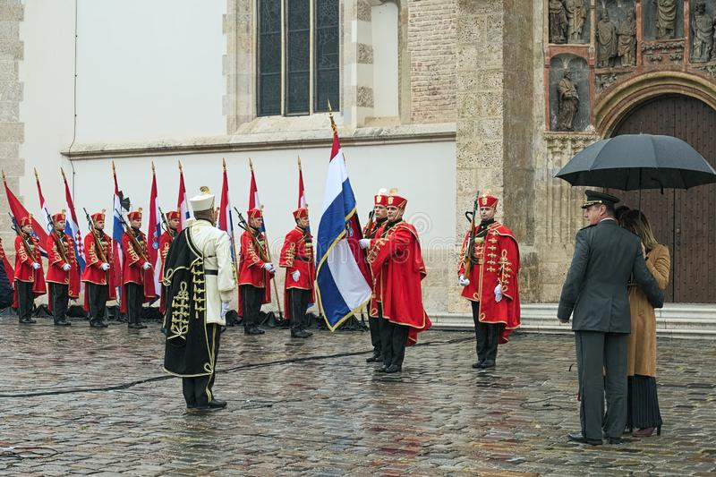 Ceremony of the Changing of the Guards at St. Mark`s Square in Zagreb, Croatia stock photo
