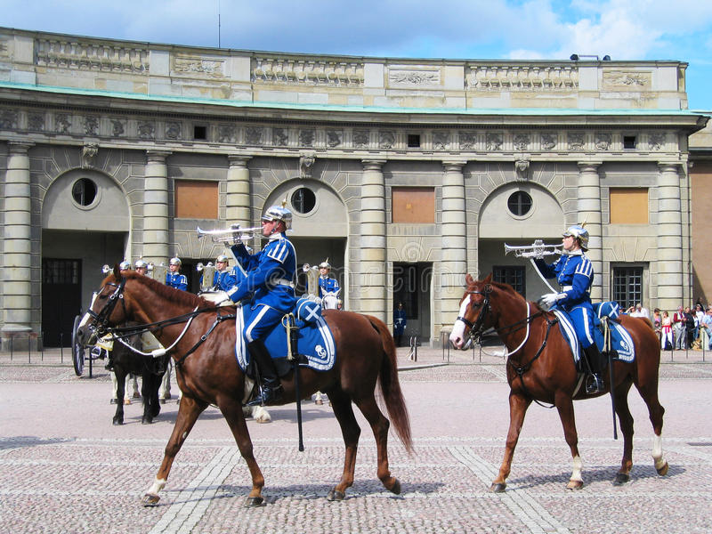 The ceremony of changing the Royal Guard in Stokholm, Sweden stock image