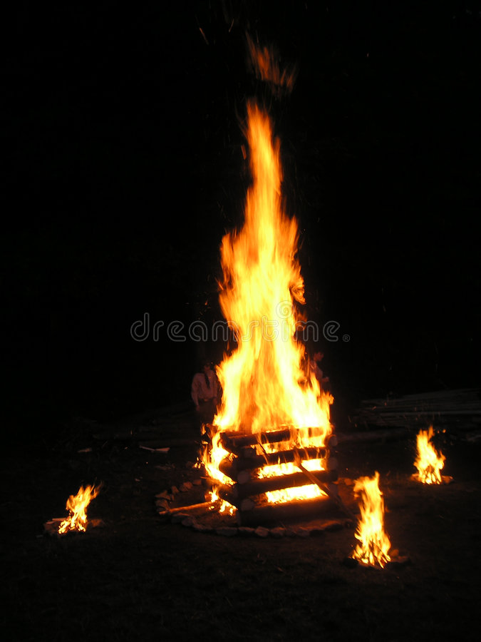 Ceremony fire. Big ceremony fire with some smaller ones stock photography
