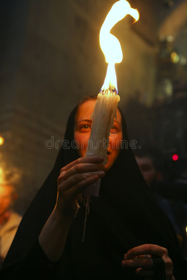 Ceremony of Holy Fire miracle. Pilgrims come to Holy Sepulchre for Holy Fire (Holy Light) miracle ceremony on Holy Saturday royalty free stock photo
