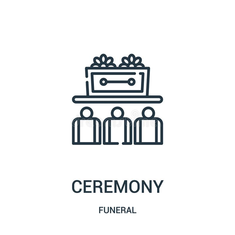 ceremony icon vector from funeral collection. Thin line ceremony outline icon vector illustration. Linear symbol for use on web royalty free illustration
