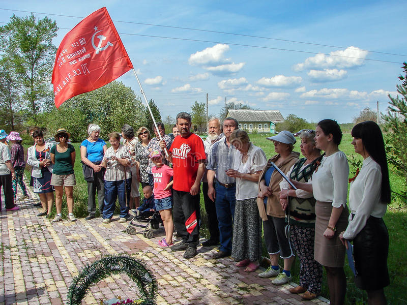 The ceremony at the mass grave in the village of Kaluga region (Russia) on 8 may 2016. In rural settlements of Russia in the eve of the victory day over Nazi royalty free stock image