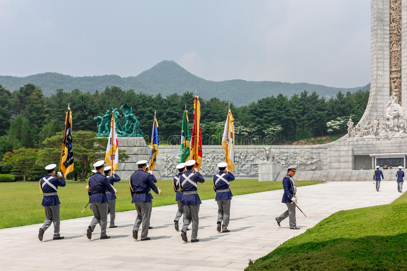 Ceremony of respect at Memorial Tower Hyeonchungtap. Daejeon National Cemetery, South Korea, 25 may 2016 royalty free stock images