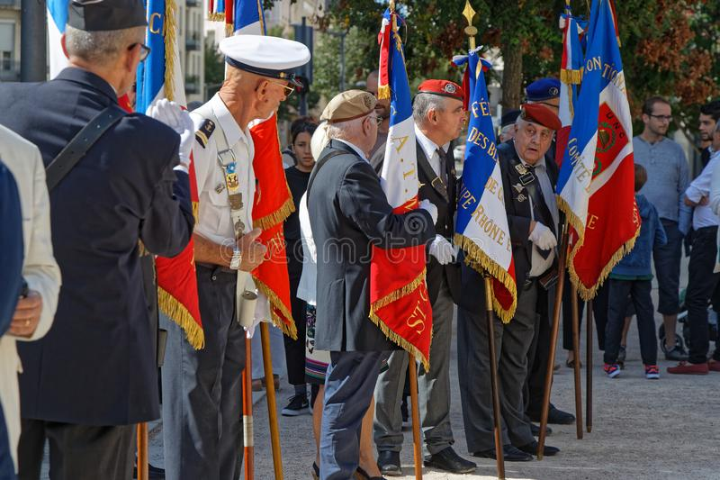 Ceremony for the 75th anniversary of Liberation of Lyon royalty free stock photography