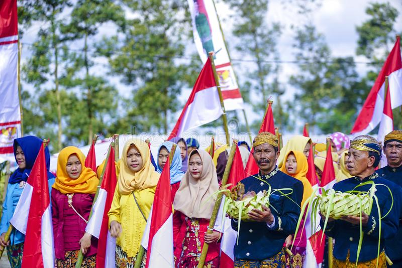 Ceremony to celebrate Indonesia independence day in Bale Rante Village is a tradition culture in Yogyakarta. Indonesia stock images