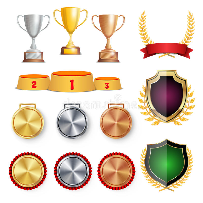 Free Ceremony Winner Honor Prize. Trophy Awards Cups, Golden Laurel Wreath With Red Ribbon And Gold Shield, Medals Template Royalty Free Stock Image - 95244616