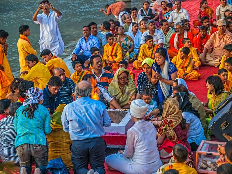 Ceremonyin Rishikesh Aarti стоковое фото rf
