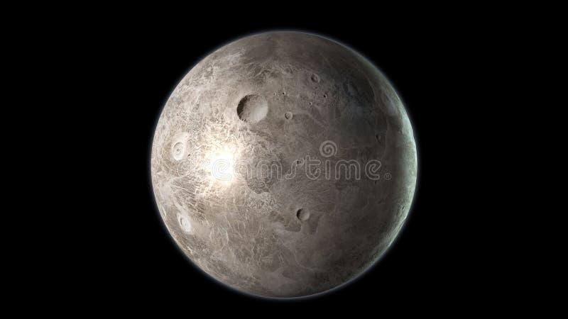 Ceres планета карлика изолированная на черной предпосылке 3d представляют бесплатная иллюстрация
