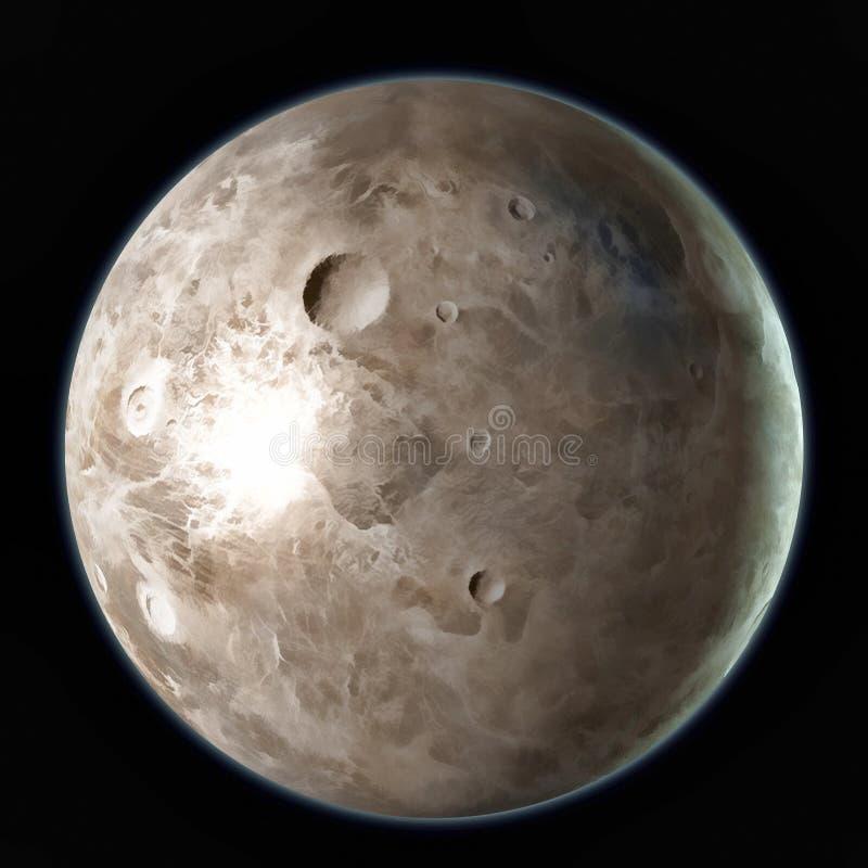 Ceres Dwarf planet isolated on black background. 3D illustration.  stock illustration
