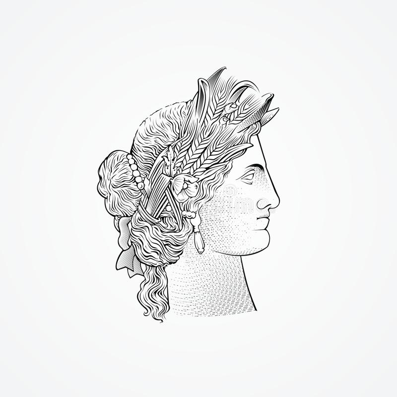 Ceres Goddess Head vector. Ceres is an ancient mythology comes from the word grew, he called the goddess of agriculture vector illustration